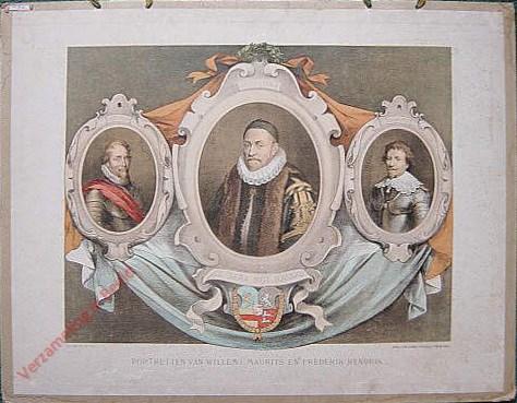 Eerste serie, No. 9 - Portretten van Willem I, Maurits en Frederik Hendrik