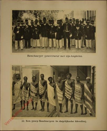 157 - Boschneger-goueverneur met zijn kapiteins. Een groep Boschnegers in dagelijksche kleeding