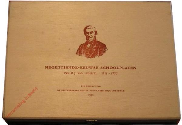 Houten kistje met Negentiende Eeuwse schoolplaten van H.J. v. Lummel, 47 platen