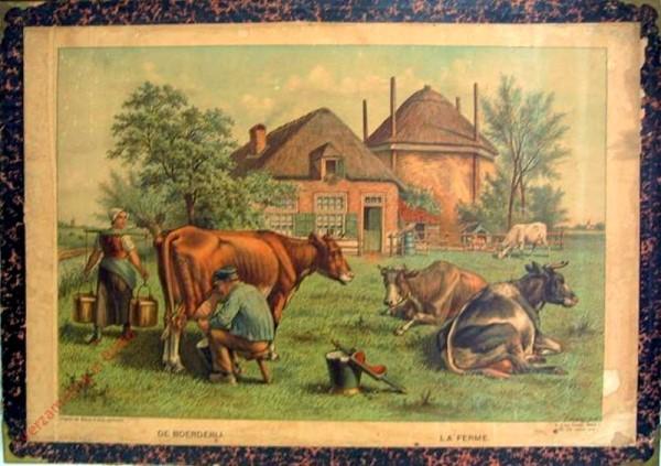 Serie I. No. VII. [var T1] - De boerderij. La ferme [Met vierde witte koe op achtergrond, witte schort boerin loopt achter door]
