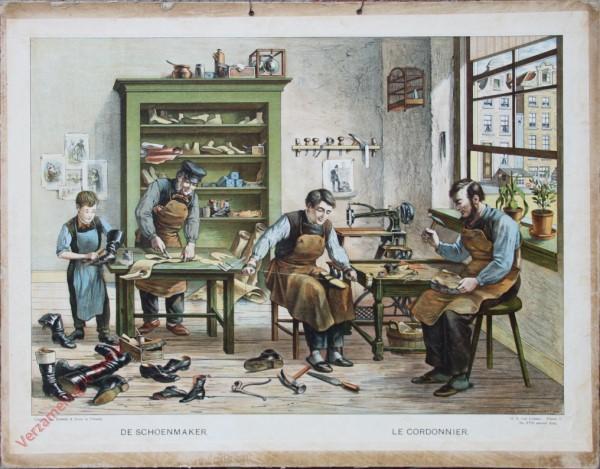 Serie I. No. XVII. [var T1] - De schoenmaker. Le cordonnier [jongen links zonder schort, man rechts met baard]