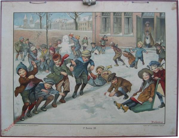 1e Serie, 3 - Op de speelplaats in den winter  [1e druk, juf rok tot aan de grond]