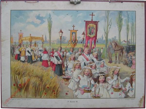 1e Serie, 6 - Een rijtoer in den zomer (processie) [1e druk, meisjes lang haar]