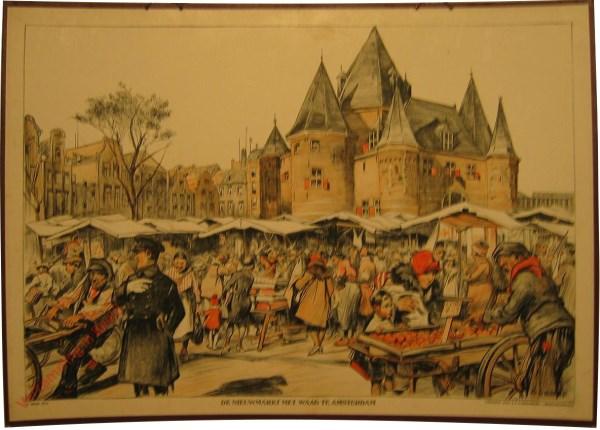 1e serie, 2 - Nieuwmarkt met waag te Amsterdam