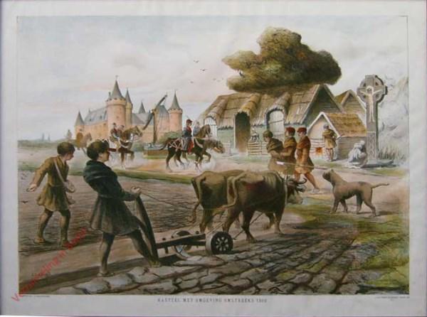 Kasteel met omgeving, omstreeks 1300
