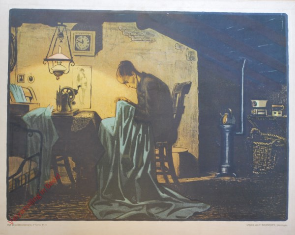 Derde serie, Nr 3 - De arme Naaister; a. Zij werkt hard voor haar brood