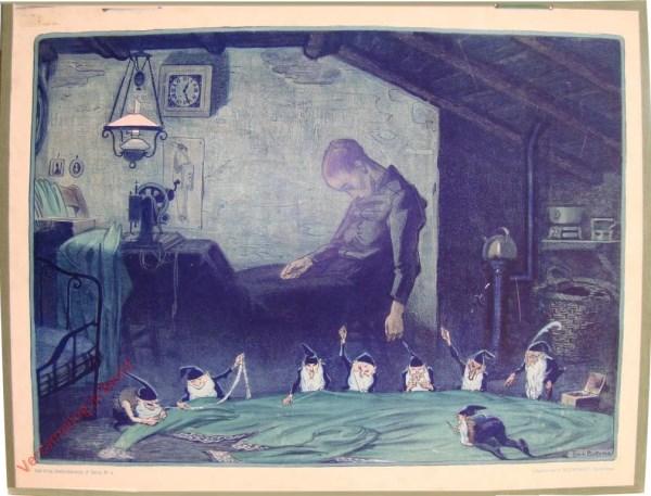 Derde serie, Nr 4 - De arme Naaister; b. De arme Vrouw is in slaap gevallen; Kaboutertjes maken het Werk af
