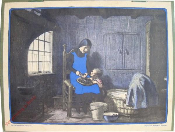 Derde serie, Nr 5 - Klein Moedertje; a. Kleine Marie doet de Huishouding