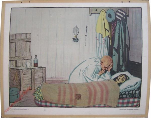 Vierde serie, Nr 6 - De Clown; b. Aan het Ziekbed