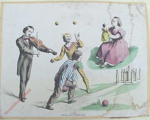 38 - 1. Met de pop spelen,  kegelen, met ballen werpen, vioolspelen.