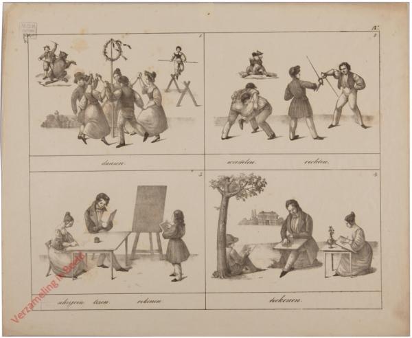 4 - dansen; worstelen, vechten; schrijven, lezen, rekenen; teekenen