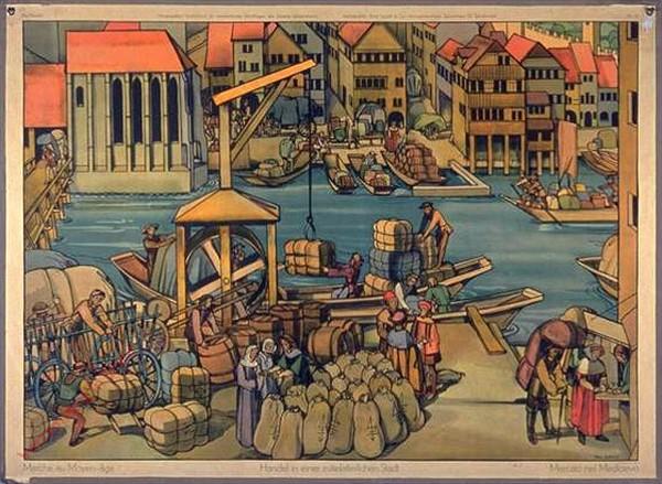35 - Handel in einer mittelalterlichen Stadt (Motiv aus Alt-Zürich)